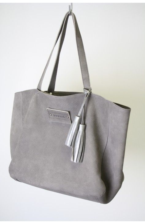 Grey tote, one off, 100% handmade in the Netherlands, Bruijs Handcrafted leatherware, www.bruijs.com