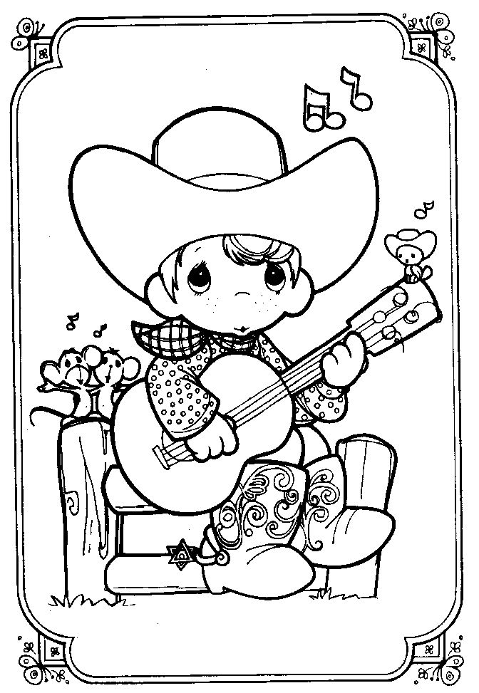 precious moments boy playing guitar coloring page