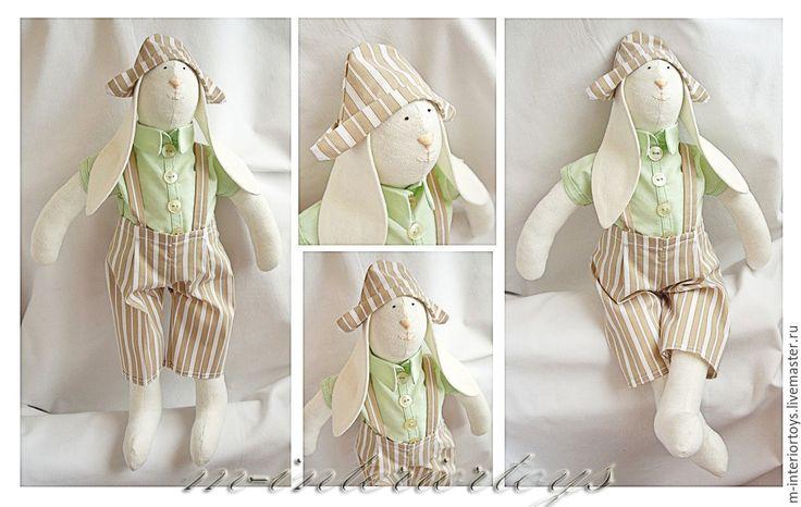 Купить Тильда заяц Василий - бежевый, тильда, тильда кукла, тильда заяц, тильды