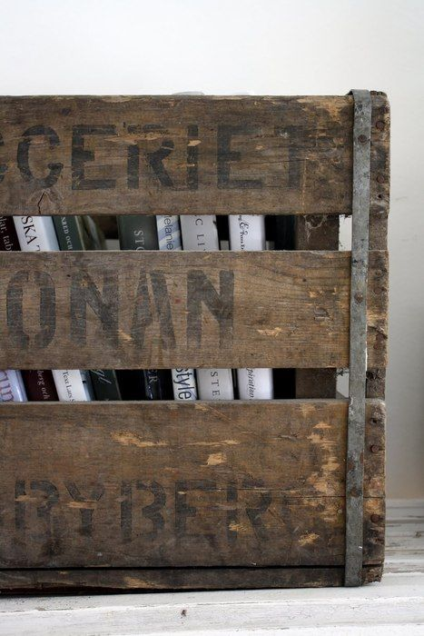 books in crates  ideal for storing magazines or toilet paper in the bathroom