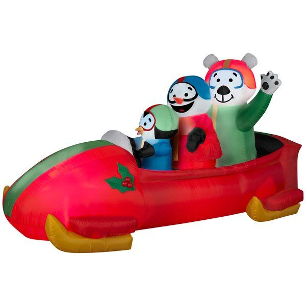 Animated Bobsled Team Penguin, Snowman and Teddy Bear Christmas - inflatable outdoor christmas decorations