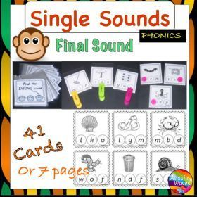 FREE RESOURCE :: Reading Centre Phonics Activity Cards Identifying FINAL SINGLE SOUNDS