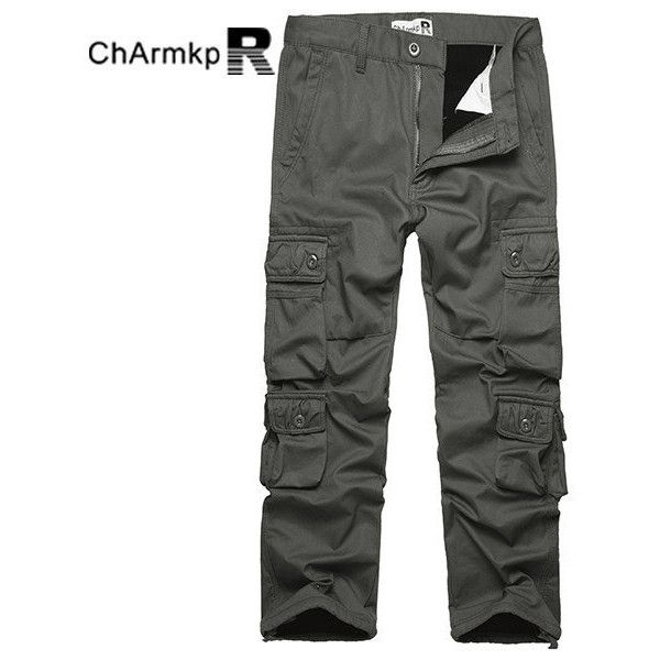 Charmkpr s Winter Polar Fleece Lined Warm Trousers (62 CAD) ❤ liked on Polyvore featuring men's fashion, men's clothing, men's pants, men's casual pants, army green, mens olive green pants, mens olive green cargo pants, mens zipper pants, mens zip off pants and mens zip off cargo pants