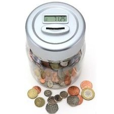 Silver money box with digital counter