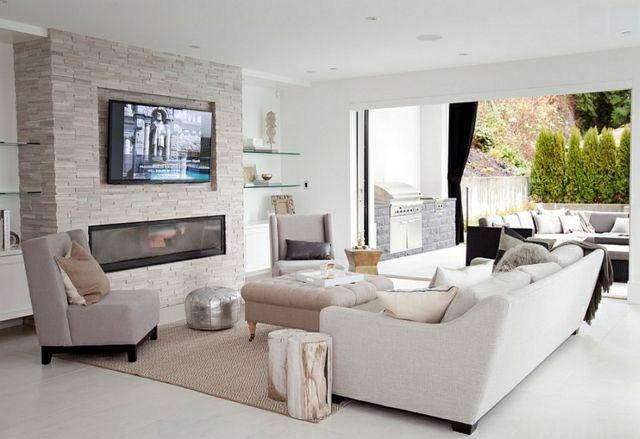 télé cheminee sejour etiree fente feu canape blanc moderne exterieur pierre baie vitre