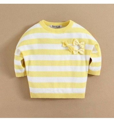 Jual sweater bayi anak Mom and Bab Yellow Flower Series - Striped Bow Sweater