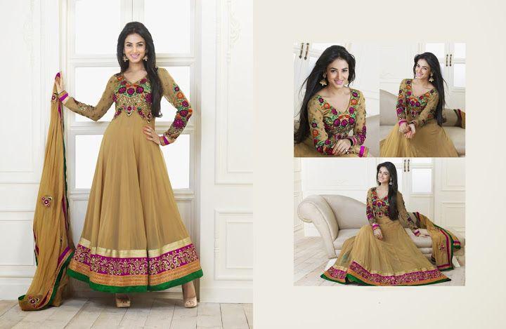 Chic Bige Brown Salwar Kameez   StylishKart.com