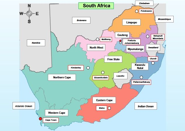 Capital Of South Africa Map Grade 4 Geography: Map of South Africa in 2020 | South africa map