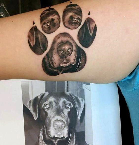Original Dog Paw Print Tattoo photo - 1