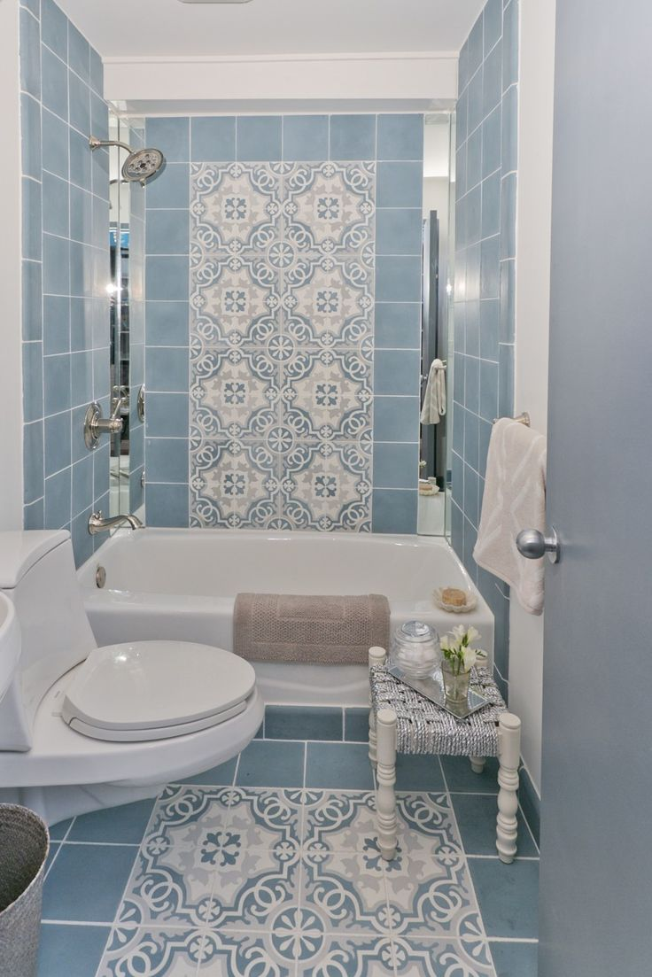 Bathroom decorating ideas small spaces - Beautiful Minimalist Blue Tile Pattern Bathroom Decor