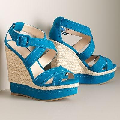 I really love wedge heelsBlue Wedges, Platform Wedges, Blue Platform, Summer Style, Summer Shoes, Kohls Shoes, Summer Colors, Wedges Sandals, Kohls Getonmyfeet