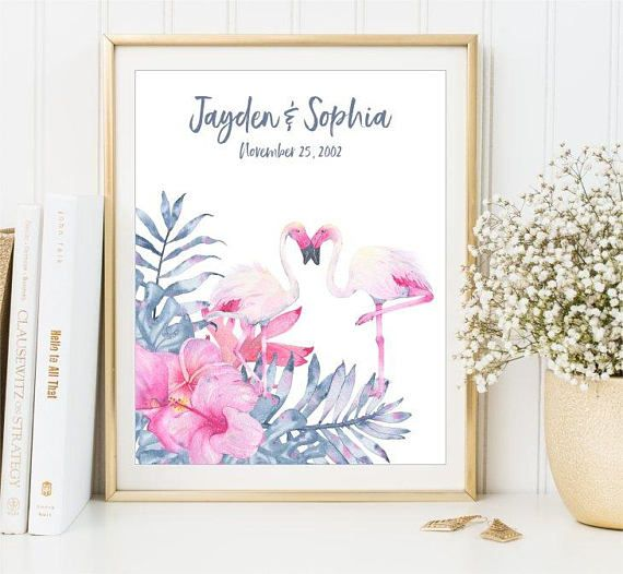 Flamingo Anniversary Print Special Date Poster Personalized