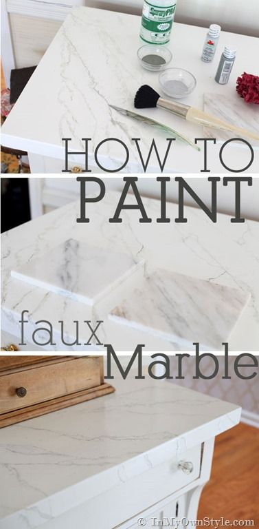 Easy to master faux carrara marble painting technique. Step-by-step photo tutorial | InMyOwnStyle.com