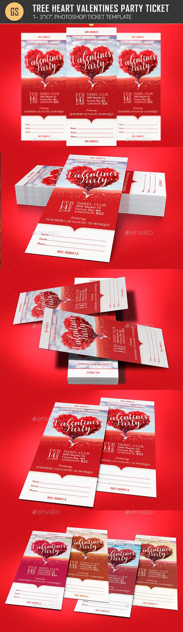 Tree Heart Valentines Party Ticket Template - Miscellaneous Print Templates