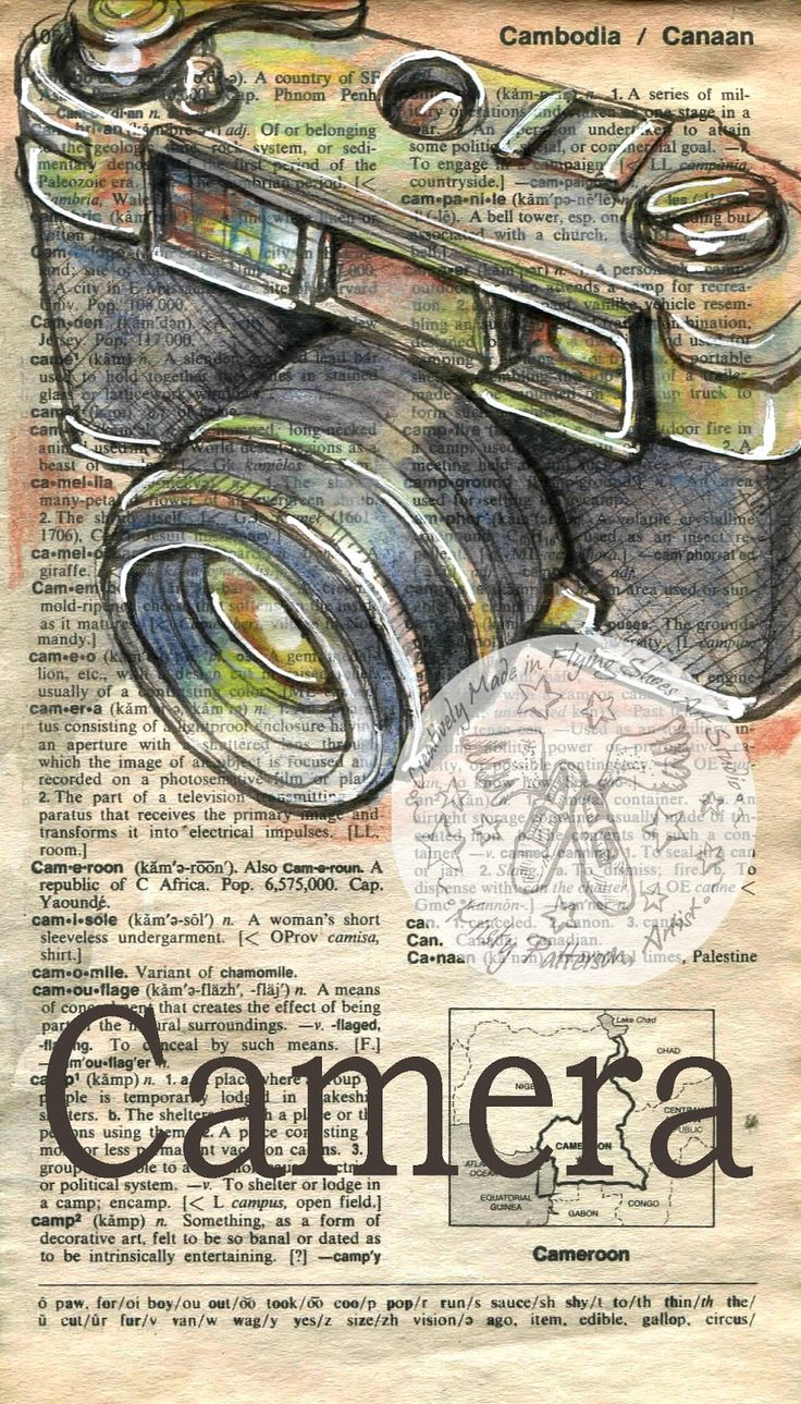 camera mixed media drawing on antique dictionary page - flying shoes art studio