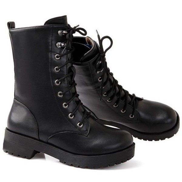 Chunky Heel Mid Calf Combat Boots Black (5245 DZD) ❤ liked on Polyvore featuring shoes, boots, calf length boots, mid calf military boots, thick heel boots, black combat booties and army boots