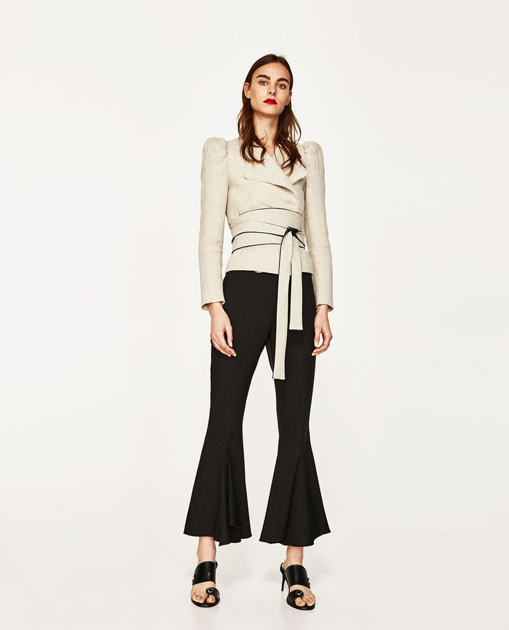 Image 1 of SHORT JACKET WITH CONTRASTING SASH from Zara