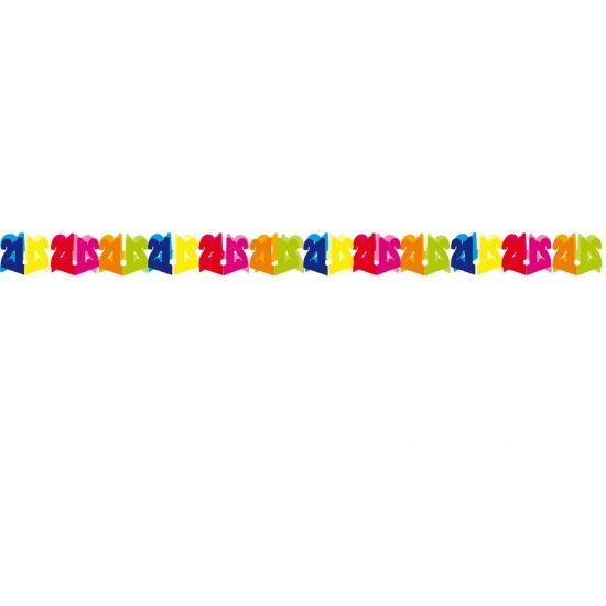 Papieren slinger 21 jaar. Gekleurde slinger voor een 21 jarige verjaardag. Deze papieren slinger 21 jaar is 6 meter lang.