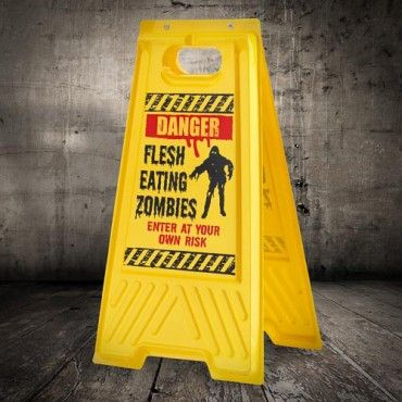 danger sign is perfect for warning your guests and little ghouls of zombies that may be lurking around part of our great halloween decorations range