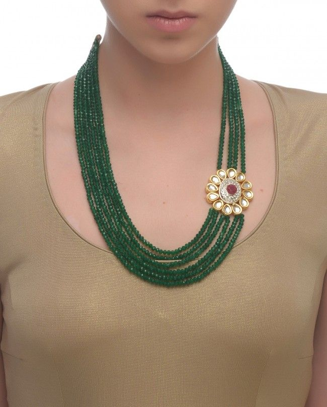 Greenbeads Long Blush Beaded Necklace vVUfqOt
