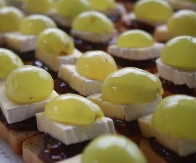 Greenn grapes  and brie with onion marmalade on crostini