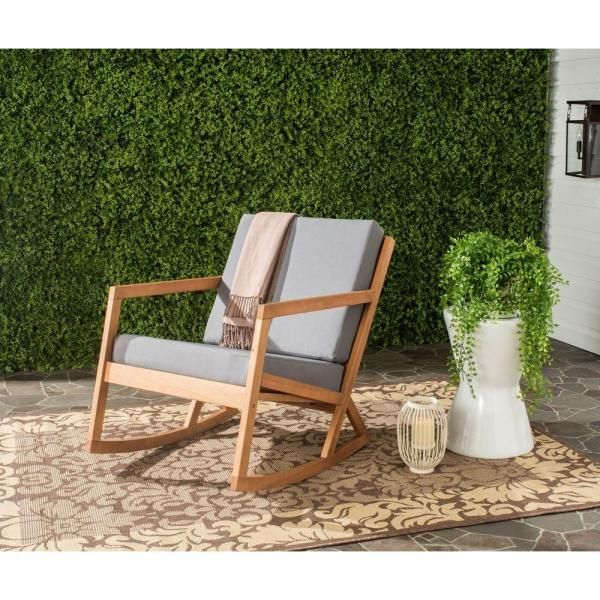 Vernon Teak Brown Wood Outdoor Rocking Chair With Gray Cushions In