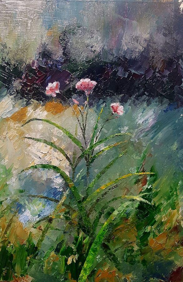 """Nerium"", an oil colour painting on canvas by a fine artist Bhanupratap Khare"