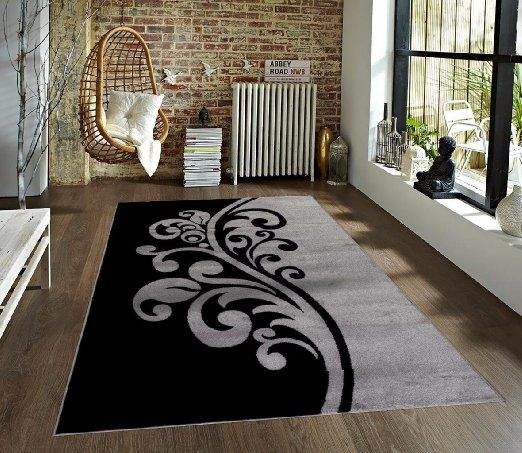 t1012 gray black white 7u002710 x 10u00272 floral oriental area rug carpet