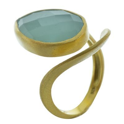 Δαχτυλίδι από επιχρυσωμένο ασήμι με πέτρα χαλκιδόνιου