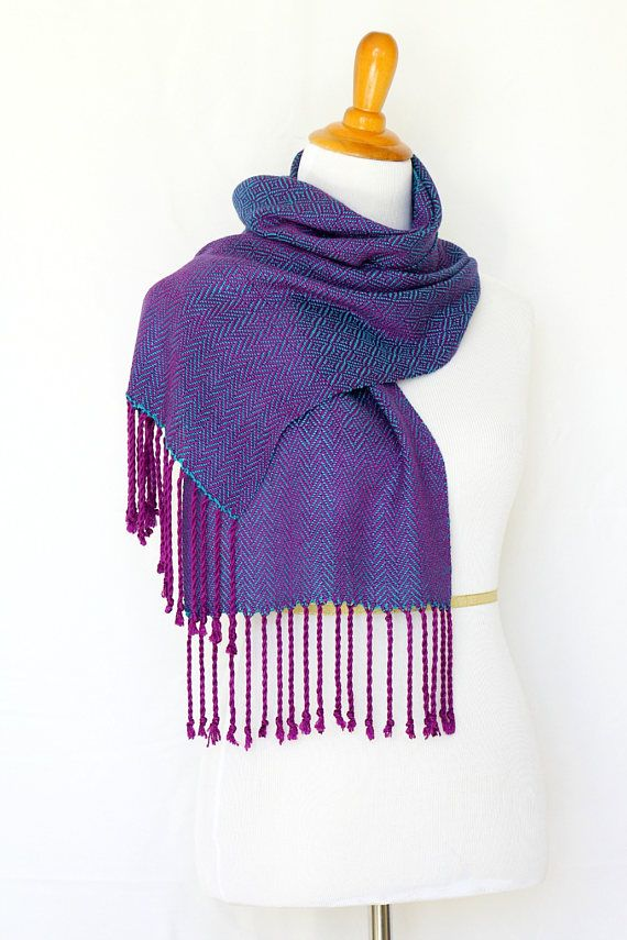Woven scarf with twill pattern in purple and teal colors.  The scarf is iridescent under different angles (purple and teal shades) which is, unfortunately, hard to catch wi... #kgthreads