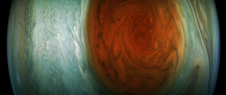 Jupiters Great Red Spot (Enhanced Color): This enhanced-color image of Jupiters Great Red Spot was created by citizen scientist Gerald Eichstädt using data from the JunoCam imager on NASAs Juno spacecraft.