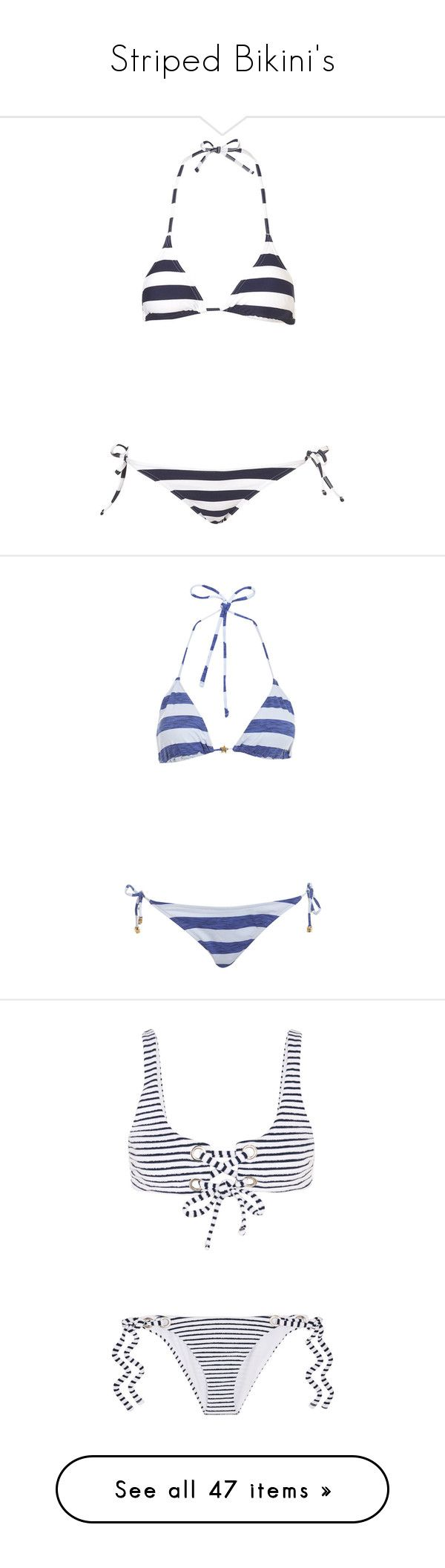 """Striped Bikini's"" by katyplops ❤ liked on Polyvore featuring swimwear, bikinis, swimsuits, bathing suits, swim, women, bikini bathing suits, swim suits, stripe bikini and swimming costume"