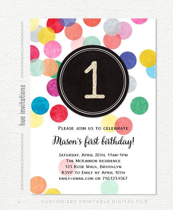first birthday invitation, rainbow 1st birthday invitation for girl or boy, gender neutral rainbow confetti printable birthday party invite by hueinvitations on Etsy https://www.etsy.com/listing/255060093/first-birthday-invitation-rainbow-1st