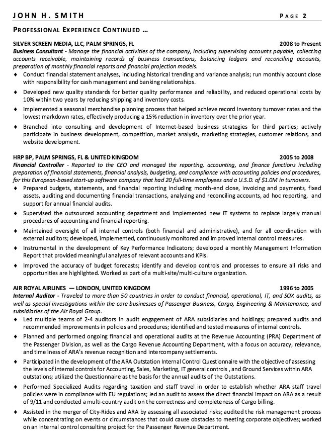 Financial Controller Resume Sample -    resumesdesign - external audit report