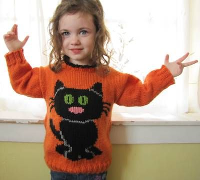 childs cat sweater free knitting pattern for a childs cat sweater - Free Halloween Knitting Patterns