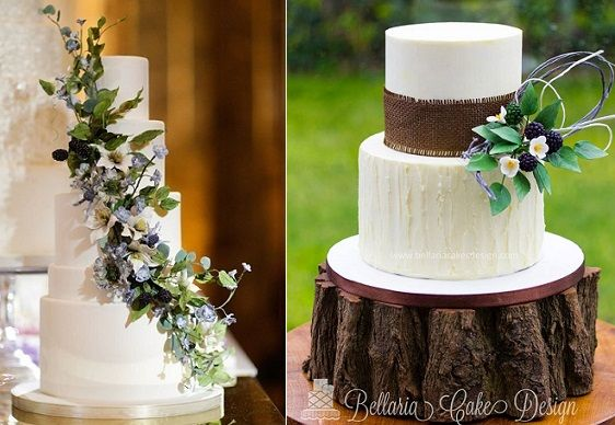 blackberries and wildflowers wedding cakes by Madison Lee's Cakes (Cody Raisig Phot) left, Bellaria Cakes Design right