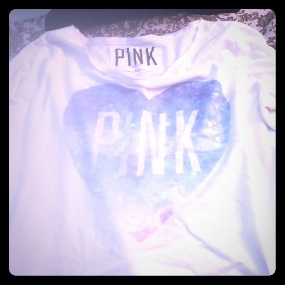 VS PINK HEART BLUE BLING TOP M VS Pink Top with a blue heart in center with sequins  on a white long sleeve shirt M PINK Victoria's Secret Tops Tees - Long Sleeve