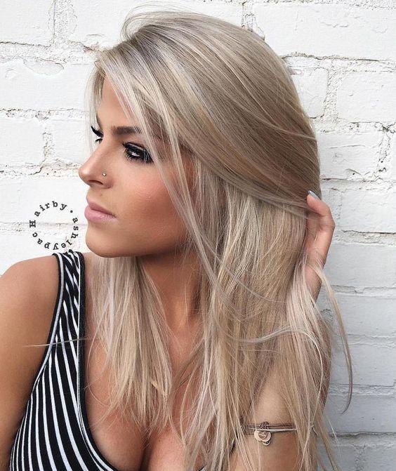 Medium Ash Blonde Hairstyle For Straight Hair Hair Pinterest