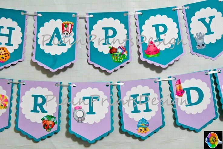 Shopkins Season 3  color themed Birthday Banner by PlainPrintsDesign on Etsy https://www.etsy.com/listing/248461207/shopkins-season-3-color-themed-birthday