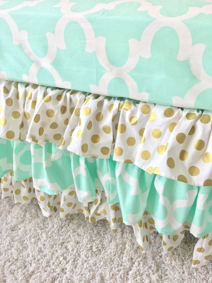 Ritzy Baby Designs, LLC - Mint and Gold Dot Ruffled Crib Skirt, $165.00 (http://www.ritzybaby.com/mint-and-gold-dot-ruffled-crib-skirt/)