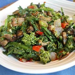 "Broccoli Rabe with Portobelllo Mushroom | ""Steamed broccoli rabe ..."