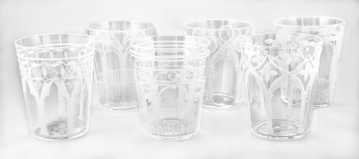 Glasses form the PALAZZO series in Murano glass. Hand engraved with images of 6 Venetian Palazzo facades (complete series).