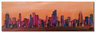 "Miniature Cityscape #1, Acrylic on Canvas  This painting is small: 4"" x 12"", hence the ""miniature"" in my title. It's not a typical painting experience, and therefore not a typical painting (at least for me). #art #acrylics #painting #paintings #art #visualarts"