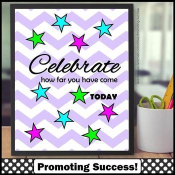 FREE Poster: This printable classroom poster has a fun, lavender chevron background with bright stars and the motivational words:  Celebrate how far you have come TODAY  You will receive JPEG and PDF files in zipped format.  I recommend 4x5, 8x10, 16x20, or 24x30 for best results.