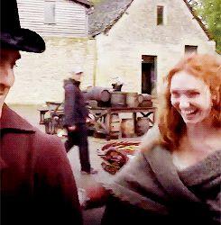 Poldark ~ Eleanor Tomlinson as Demelza and Jack Farthing as George Warleggan