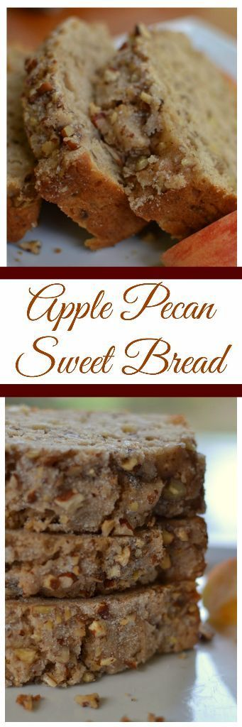 Apple Pecan Sweet Bread is full of apples chunks and pecans.  It is lightly sprinkled with sugar giving it a light extra crunch on the crust.  It is quick to come together and can easily be doubled.