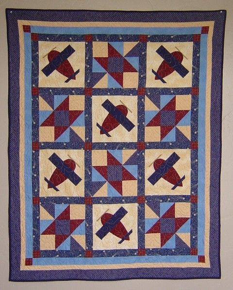 Baby Boy Airplane Quilt PATTERN  PDF  throw quilt  by pixieharmony, $5.95
