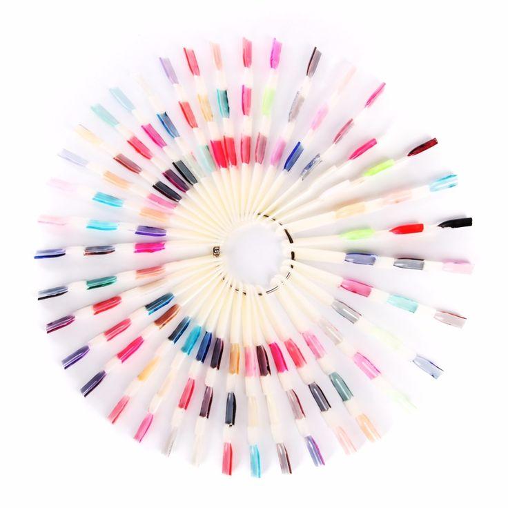 Makartt 150 Tips 3 Knots Nail Art Display Natural Chart Color Sample Practice Fan Nail Polish Display with Ring Nail Tools F0396