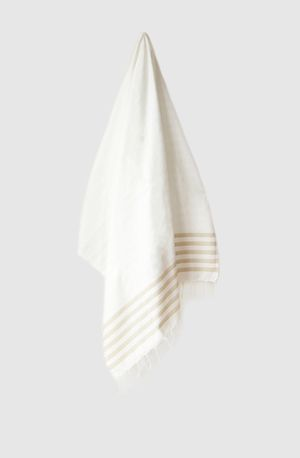 Sheker Candy Stripe Turkish Towel White and Sand - $49 AUD