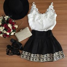 2016 New summer fashion casual v-necks black and white short lace beach dress Western style formal dresses sexy mini party dress(China (Mainland))